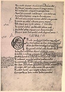 Eine Seite einer 1467 geschriebenen Handschrift von Juvenals Satiren. London, British Library, Additional MS 17413, fol. 20v (Quelle: Wikimedia)