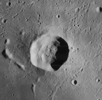 König (crater) - Lunar Orbiter 4 image depicting the crater and its satellite crater König A located to the southeast