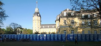 Chemical toilet - A long row of chemical toilets at Karlsruhe Palace, Germany