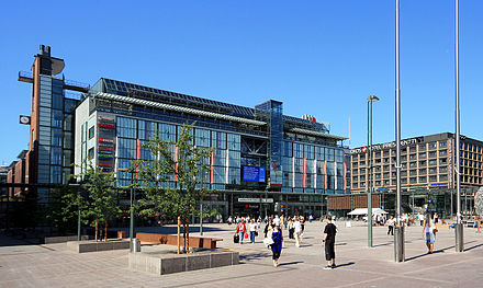 Underground bus and coach terminal and metro station are located underneath the Kamppi Center in Helsinki, Finland Kamppi Center II.jpg