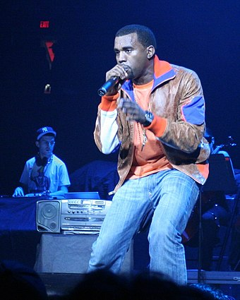 West performing in Portland in December 2005 as a supporting act for U2 on their Vertigo Tour. Kanye West in Portland.jpg