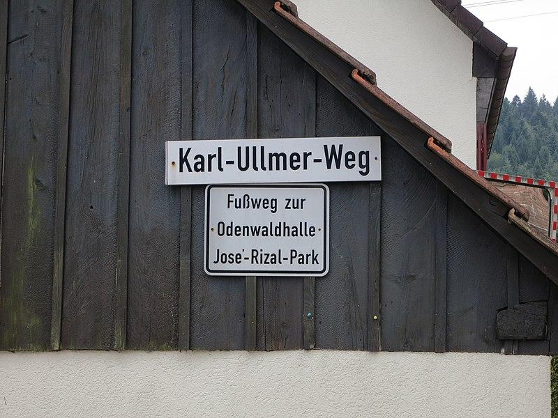 File:Karl-Ullmer-Weg street sign leading to Rizal Park in Wilhelmsfeld, Germany.jpg