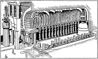 "Chaitya - Drawing of the ""Great Chaitya"" at the Karla Caves, when built, in about 120 CE"