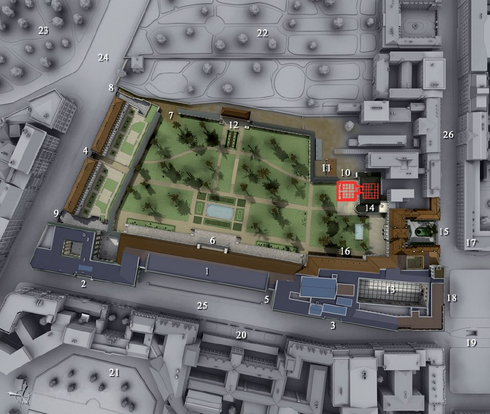The location of the Old (15) and the New Reich Chancellery (1), together with the Vorbunker and the Führerbunker (10).