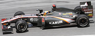 Karun Chandhok - Chandhok recorded Hispania Racing's first finish with fourteenth position in Australia and beat team-mate Bruno Senna at the next race in Malaysia.