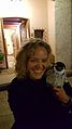Katherine Maher with 'Mr Penguin' at Wikimania 2016.jpg