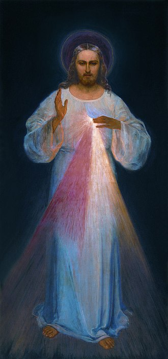 Divine Mercy -  The original image (circa 1934) painted according to the apparitions of Kowalska by Eugene Kazimierowski. Oil on canvas. Now permanently enshrined at the Divine Mercy Sanctuary of Vilnius, Lithuania.