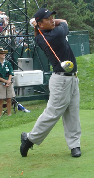 K. J. Choi - K.J. hits a drive during a 2005 PGA Championship practice round at Baltusrol Golf Club.