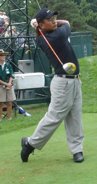 K. J. Choi - K.J. hits a drive during a 2005 PGA Championship practice round at Baltusrol Golf Club.
