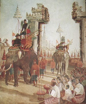 Military history of Thailand - King Naresuan entered Hanthawadi (now Pegu), mural painting by Phraya Anusatchitrakon, Wat Suwandararam, Ayutthaya.