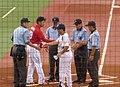 Koichi Ogata and Mitsuru Manaka start of game - July 30 2015.jpg