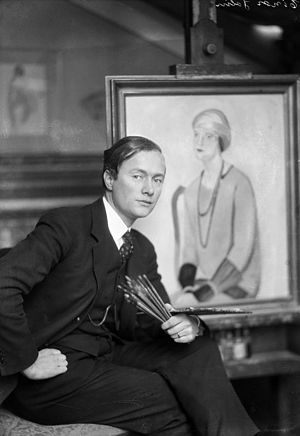 Einar Jolin - Portrait of artist Einar Jolin next to one of his paintings, sometime between 1925 and 1941.