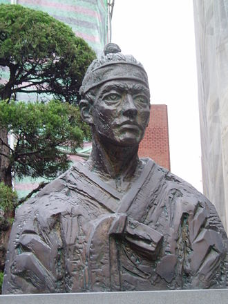 Andrew Kim Taegon - Statue of Saint Andrew Kim   Tae-gon in the yard of Myeongdong Cathedral