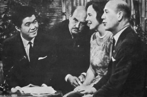 Kyu Sakamoto - Sakamoto (far left) being interviewed live on the Swedish talk show Hylands hörna in October 1964