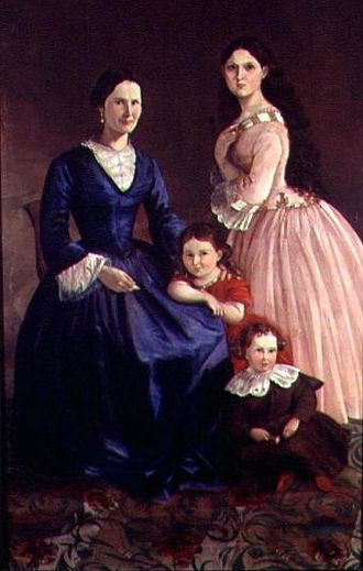 José Hilario López - Family portrait of his wife María Dorotea Durán Borrero, and their three kids, Lucretia, Policarpa, and Antonio.