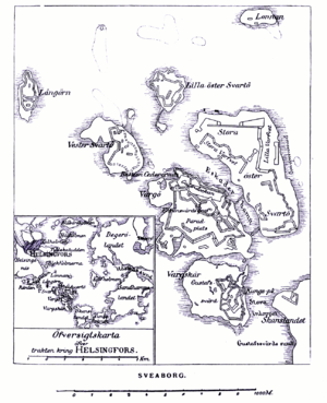 Siege of Sveaborg - Map of Sveaborg fortress in 1808.