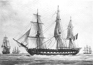 French frigate Pénélope (1806) - Image: La fregate de 18 la penelope 1802 1816 par francois roux 18772