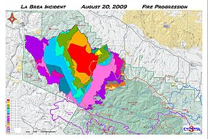 La Brea Fire - Progression of the La Brea Fire through August 20, along with outlines of the Zaca Fire (2007) and Wellman Fire (1966).