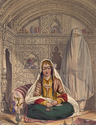 Harem - Ladies of Caubul (1848 lithograph, by James Rattray) showing unveiling in zenana areas