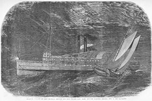 PS Lady Elgin - A woodcut engraving of the collision from Frank Leslie's Illustrated Newspaper