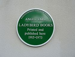 Ladybird books green plaque, angel yard, loughborough 01