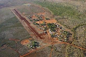 Lajamanu, Northern Territory - Aerial view of Lajamanu and its airstrip