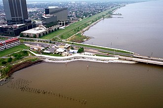 Lake Pontchartrain Causeway - The southern end of the causeway at Metairie, Louisiana in 1998