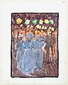 Large Boston Public Garden Sketchbook- Night scene with three women in blue MET DT3402.jpg