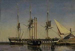 Emanuel Larsen - Image: Larsen Fregatten Niels Juel ved hovedvagten på Nyholm 1857