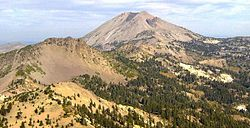Lassen Peak from the summit of Brokeoff Mountain. Photo shows 1915 tongue of lava and Vulcan's Eye.