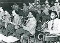 Lawrence Brown, Harry carney, Juan Tizol, Joseph Nanton, Sonny Greer, Ben Webster, Wallace Jones, Ray Nance, Otto Hardwick, Rex Stewart, Barney Bigard. Photography by Jack Towers. (November 7,1940).jpg