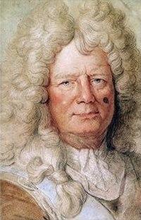Vauban, avec sa cicatrice sur la joue gauche reçue au siège de Douai. Tableau attribué à Hyacinthe Rigaud.