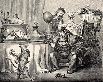 Ogre - Puss in Boots before the ogre. One of the platters on the table serves human babies (illustrated by Gustave Doré).