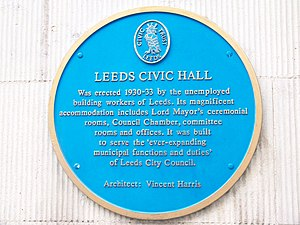 Leeds Civic Hall - Image: Leeds Civic Hall blue plaque