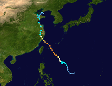 Map plotting the track and the intensity of the storm, according to the Saffir-Simpson scale Lekima 2019 track.png