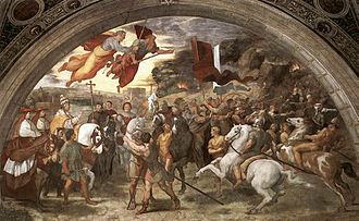 History painting - The Meeting of Leo the Great and Attila by Raphael and his workshop