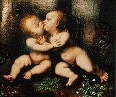 Holy infants embracing by Leonardo da Vinci, circa 1486