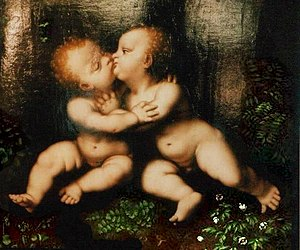 The Holy Infants Embracing -  Detail of one of many copies of the Holy Children, Jesus and John the Baptist, embracing