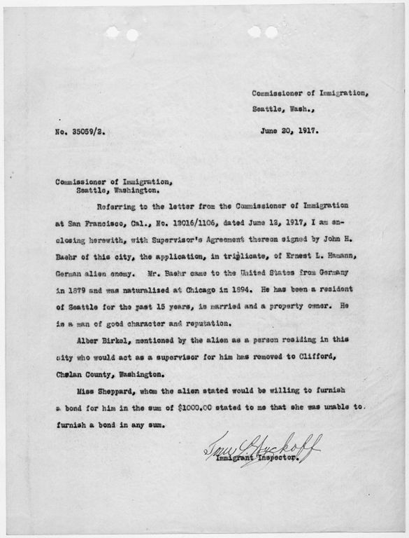 File:Letter To Commissioner Of Immigration, Seattle, Washington