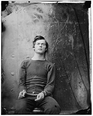 Lewis Powell (conspirator) - Powell in wrist irons aboard the USS ''Saugus'', photograph by Alexander Gardner, 1865