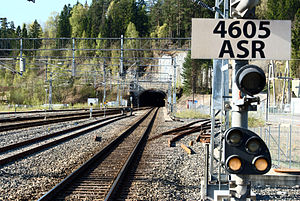 Lieråsen Tunnel - The tunnel seen from Asker Station