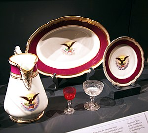 "China service of the Lincoln administration - Pieces of the 1861 Lincoln ""solferino"" china on display in the National Museum of American History in Washington, D.C."