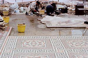 Littlecote Roman Villa - Littlecote mosaic restoration in 1979