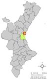 Localización de Foyos respecto a la Comunidad Valenciana