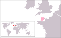 A map showing the location of Alderney