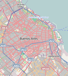 Puente de la Mujer is located in Buenos Aires (streets indicated)