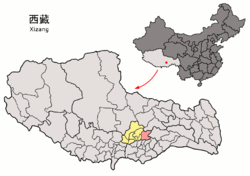 Location of Maizhokunggar County (red) within Lhasa City (yellow) and Tibet Autonomous Region