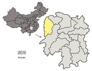 Location of Xiangxi Prefecture within Hunan (China).png
