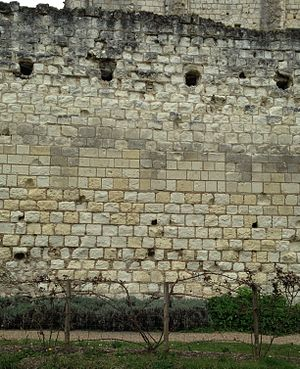 Tuffeau stone - Part of the enciente wall at the Château de Loches, showing tuffeau blocks of various ages and in various stages of decay.