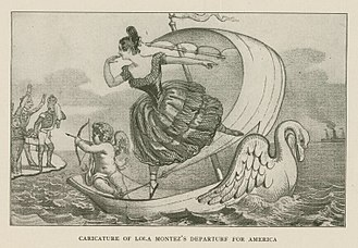 Lola Montez - A caricature by David Claypoole Johnston from the period showing Lola Montez leaving Europe for the United States.
